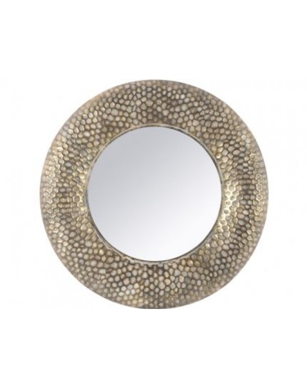Antique Gold Round Honeycomb Mirror